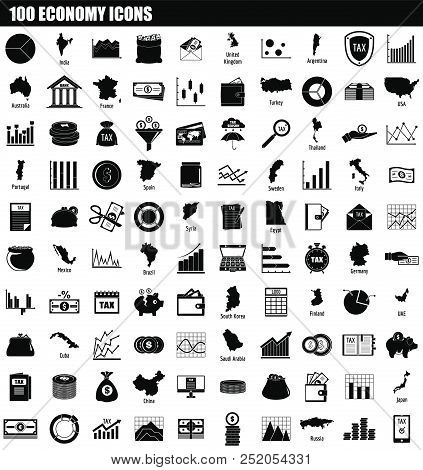 100 Economy Icon Set. Simple Set Of 100 Economy Vector Icons For Web Design Isolated On White Backgr