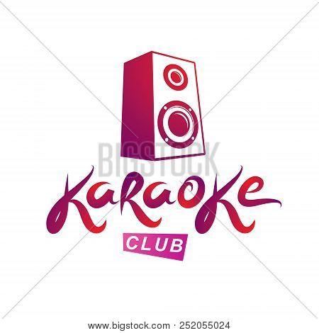 Karaoke Club Emblem Composed Using Subwoofer Vector Illustration, Musical Equipment. Nightclub Disco