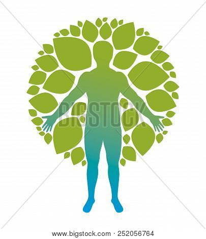 Vector Athletic Man Created Using Organic Green Tree Leaves. Downshifting And Ecotourism Concept Ill
