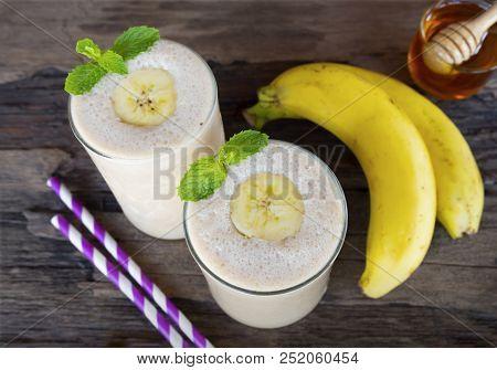 Banana Smoothie Colorful Fruit Juice Milkshake Blend Beverage Healthy High Protein The Taste Yummy I