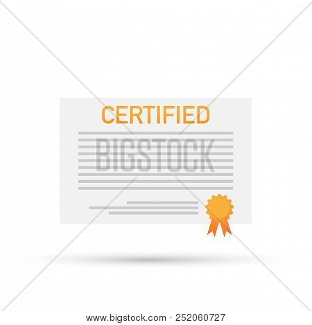 Patented Document With Approved Stamp Vector Stock Icon Illustration