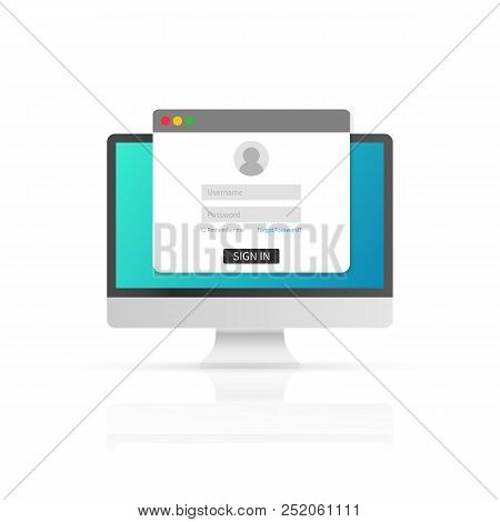 Login Page On Computer Screen. Notebook And Online Login Form, Sign In Page. User Profile, Access To