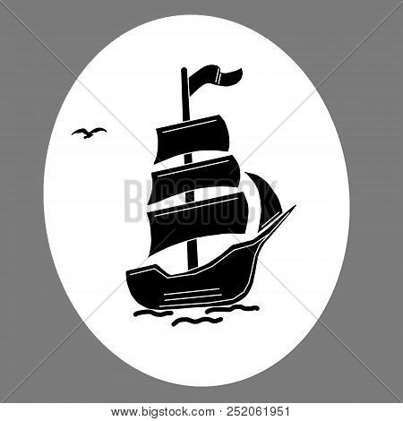 Emblem Of A Sailing Ship On A White Background.image Of A Sailing Ship On A White Background.