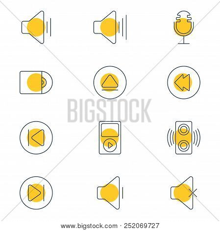 Vector Illustration Of 12 Melody Icons Line Style. Editable Set Of Previous, Next, Upward Sound And