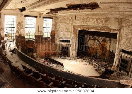 Auditorium of the abandoned City Methodist Church in Gary, Indiana