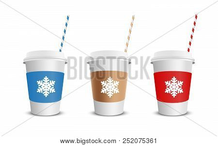 Vector Realistic Blank Paper Coffee Cup Isolated On White With Snowflakes. Vector Illustration.
