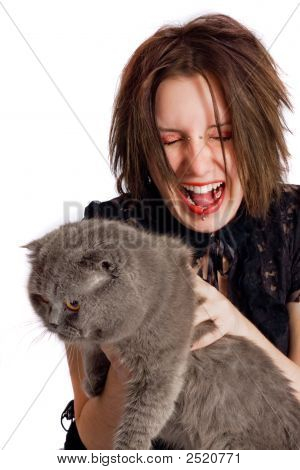 gothic girl with scottish fold cat grey poster