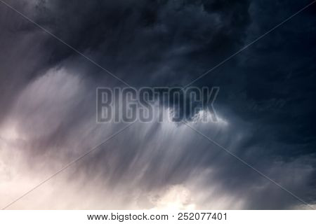 Blurred Photo Of Severe Rain And Dark And Dramatic Storm Clouds