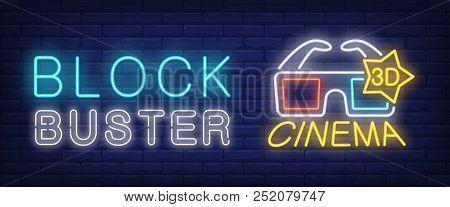 Block Buster, 3d Cinema Neon Style Banner