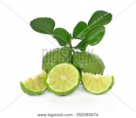 A Kaffir Lime Isolated On White Background.