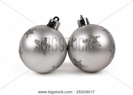 Two Silver Christmas Balls