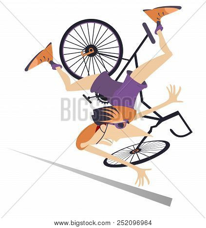 Cyclist Falling Down From The Bicycle Isolated Illustration. Cyclist Falling Down From The Bicycle I