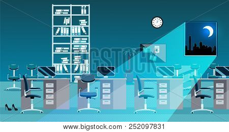 Flat Vector Illustration Of Classic Office Room Interior At Night. Open Space Without People. Order