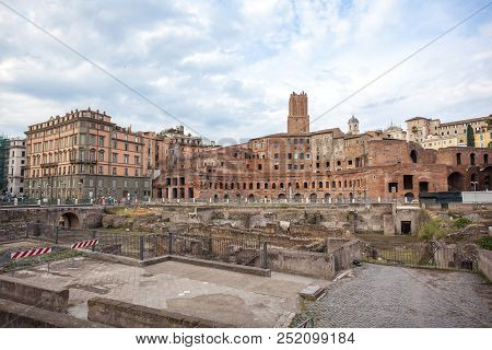 The Trajan's Forum, an ancient Roman market, housing the Imperial Forum Museum (Museo dei Fori Imperiali), Rome, Italy. poster