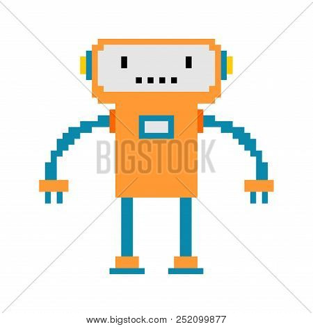 Robot Pixel Art. 8 Bit Cyborg. Digital Technology Toy Vector Illustration