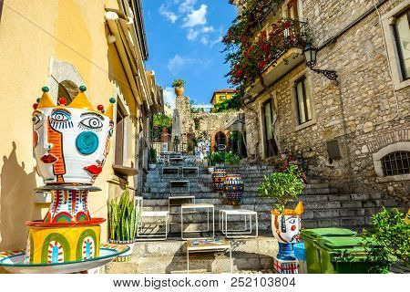 Taormina, Italy - September 16 2016: Colorful Staircase Located Just Off The Main Road In Taormina I