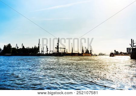 Street view of Cruise ship in the harbor of Hamburg, germany, Europe