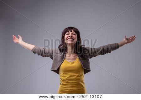 Happy Elated Woman Celebrating