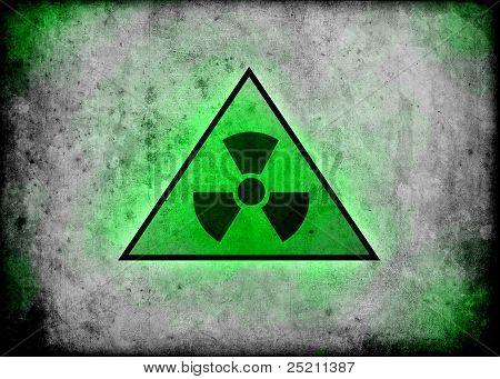 Promieniowanie radioaktywnych znak tło ściana