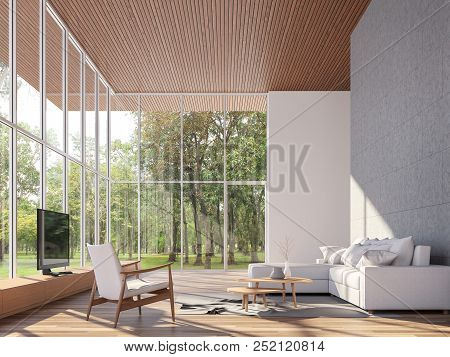 Tropical House Living Room 3d Render.the Rooms Have Wooden Floors And Ceiling,concrete Tile Wall.fur