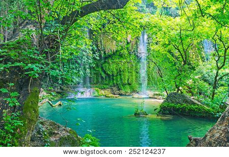 Idyllic Nature Of Kursunlu Waterfall Park, Located Next To Antalya And Famous As Perfect Place For P