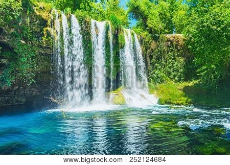 The Picturesque Landscape Around The Upper Duden Waterfall - The Deep Canyon Is Covered With Lush Gr