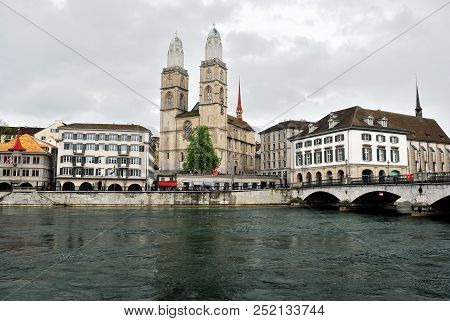 View Of Zurich And The Limmat River, Switzerland.