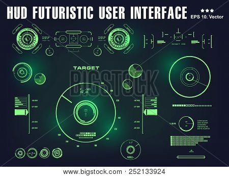 Futuristic Green Virtual Graphic Touch User Interface, Target, Hud Dashboard Display Virtual Reality