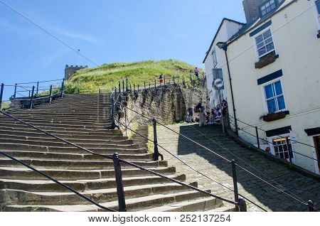 Whitby Yorkshire Uk  - 25 June 2018: Looking Up The 199 Steps To Whitby Abbey