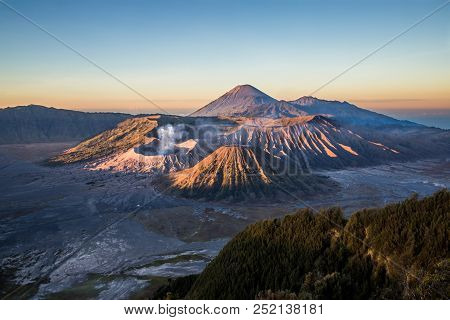 Sunrise At The Bromo Volcano, Which Is Located In East Java Indonesia