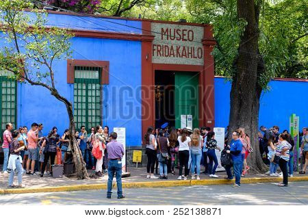 MEXICO CITY,MEXICO - JULY 13,2018 : Casa Azul or Blue House, the house of Frida Kahlo and Diego Rivera in Coyoacan