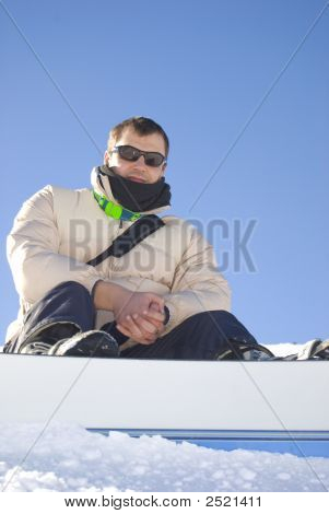 Snowboarder Portrait Vertical Stock Photo