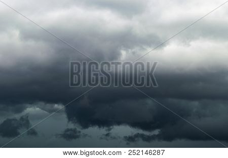 The Big Powerful Storm Clouds Before A Thunder Storm. Dark Storm Clouds. Stormy Clouds Background