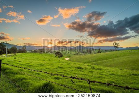 Sunset Over The Mountains In New South Wales, Cobargo