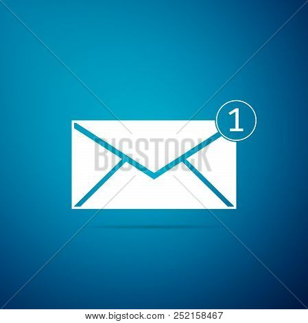 Envelope Icon Isolated On Blue Background. Received Message Concept. New, Email Incoming Message, Sm