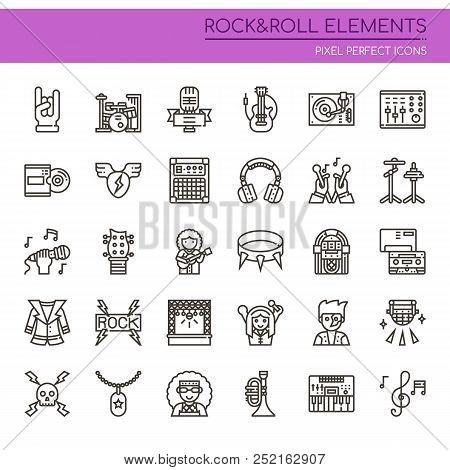 Rock & Roll Elements , Thin Line And Pixel Perfect Icons