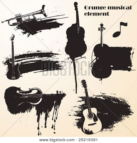 set of grunge vector - music