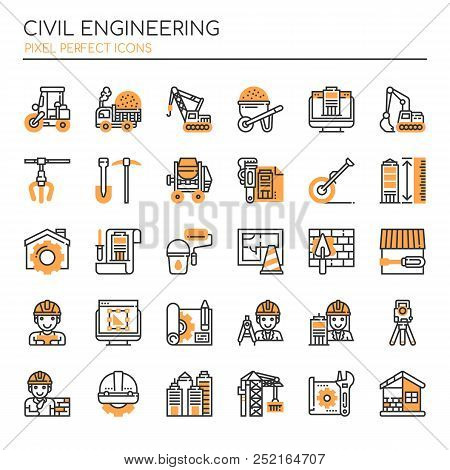 Civil Enginerring , Thin Line And Pixel Perfect Icons