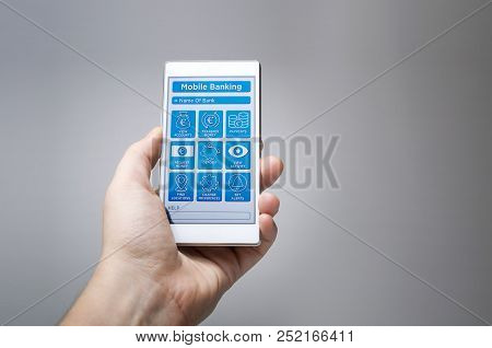 Mobile Banking Online Mobile App. Imaginary Mobile Banking Application On Mobile Device.