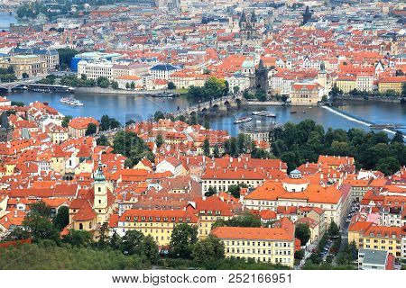 Panoramic Aerial View Of Lesser Town And Vltava River In Prague, Czech Republic