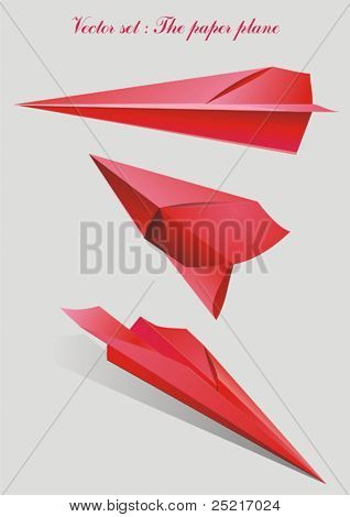 Set vector - paper plane red