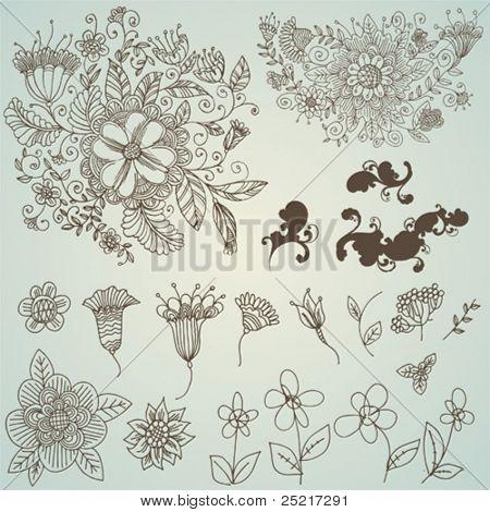 vector set: swirls and flower