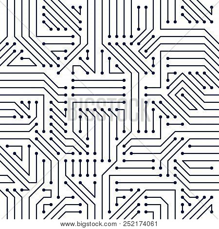 Circuit Board Seamless Pattern, Vector Background. Microchip Technology Electronics Repeat Design.