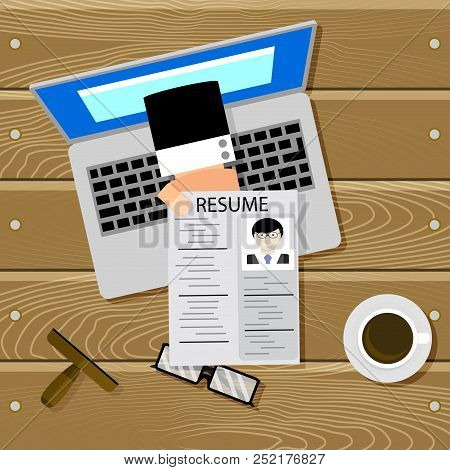 Hiring Online Top View. Online Hire Cv, Employment Hiring, Hand With Resume. Search Job Vector Illus
