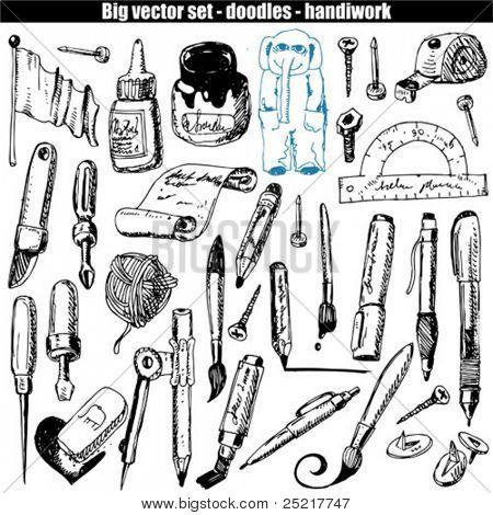 vector set - doodles - brush and pen