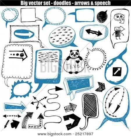 vector set - doodles - speech & arrows