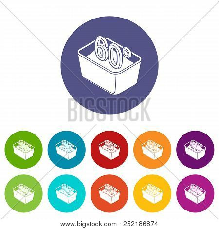 Hand Wash 60 Degrees Celsius Icons Set Vector Color