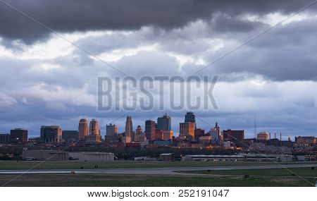 Golden Light Hits The Buildings And Architecture Of Kansas City, Mo At Sunset