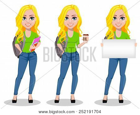 Happy Student With Backpack, Set Of Three Poses. Beautiful Female Cartoon Character Holding Book, Ho