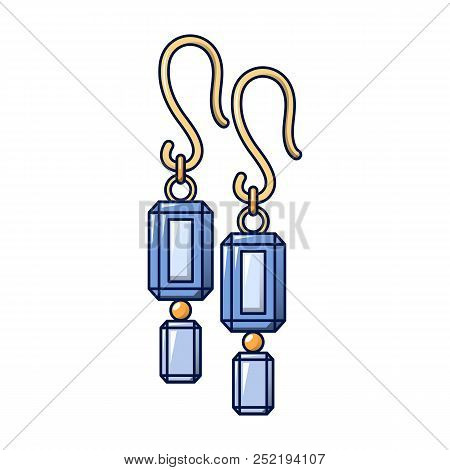 Blue Topaz Earrings Icon, Cartoon Style For Any Design